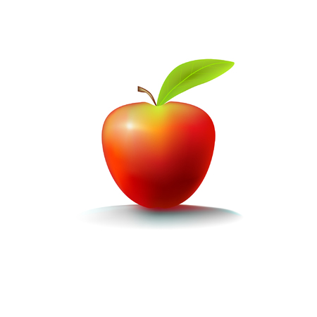 Cute red apple with a leaf Stock Vector - 98610769