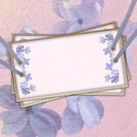 beautifu: Card for the invitation with ribbons and rivets, floral background