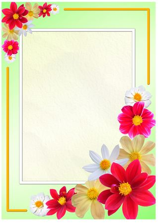 Flowered frame for greeting, congratulations or felicitation photo