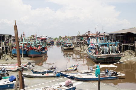Boats on a chinese fishing village in Sekinchan Malaysia