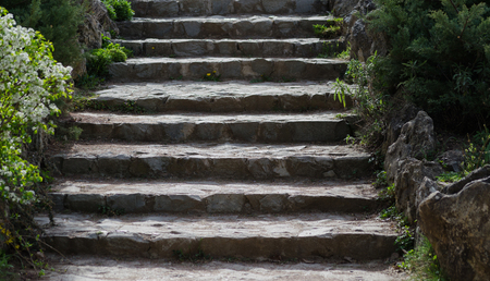 without people: old stone steps in a park without people Stock Photo
