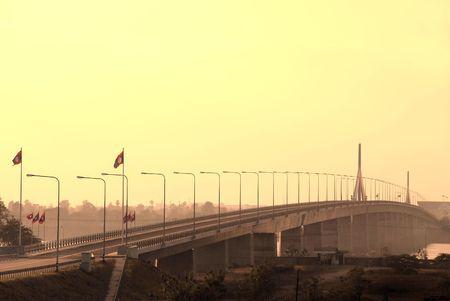 Thai Bridge - Laos of Thailand Stock Photo