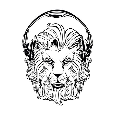 Lion head on a white background. Lion in the headphones.