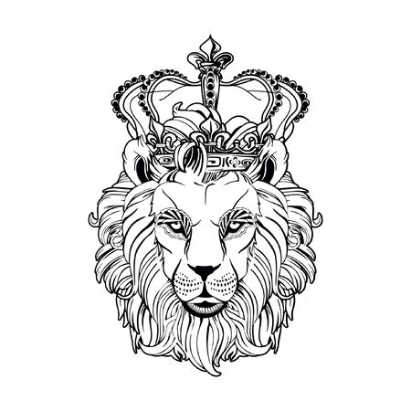 Lion head on a white background, a lion king. Illustration