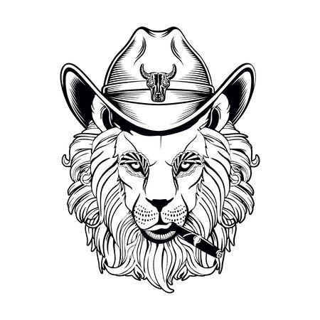 on a white background lion cowboy