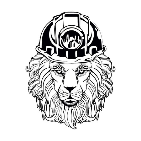 on a white background lion miner
