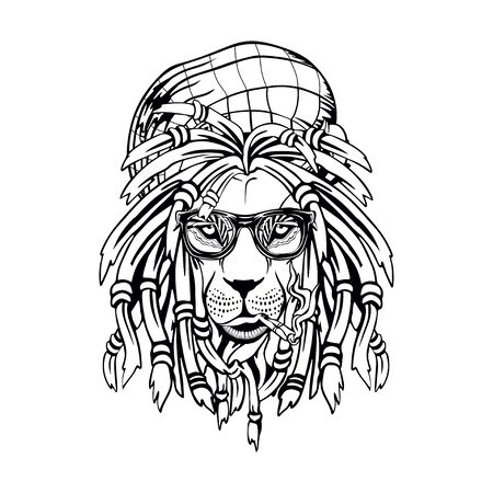on a white background lion rastaman Illustration