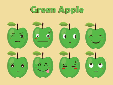 blushing: Green Apple Character Vector Illustration