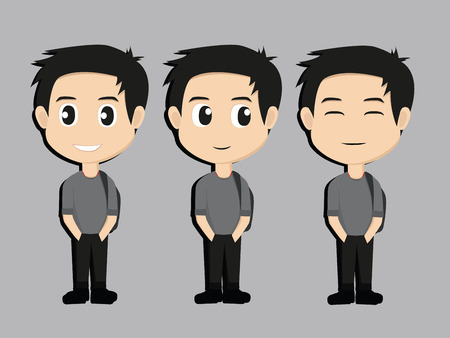black haired: Attractive black haired boy on ten different face expressions collection. Vector Illustration