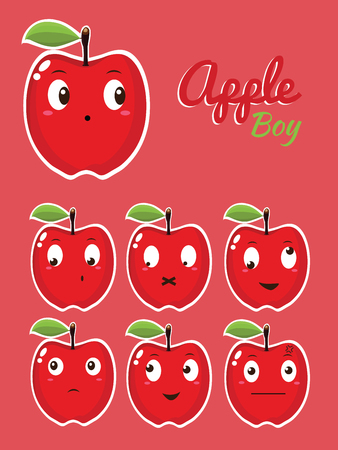 apple character: Apple Character Vector Illustration Illustration