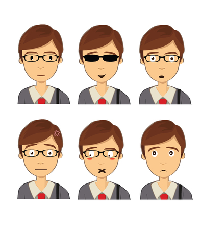 black haired: Attractive black haired boy on ten different face expressions collection. Vector Isolated