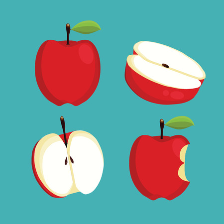 Apples. Set of red, green, bitten and half of fruit with leaf. Vector illustration. Isolated