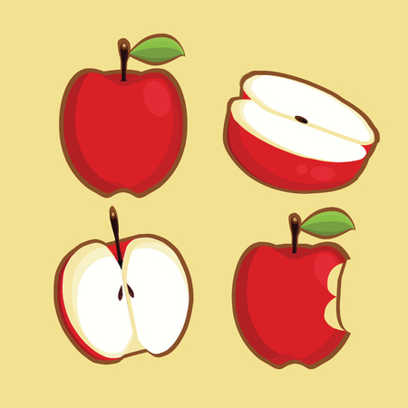 simple cross section: Apples. Set of red, green, bitten and half of fruit with leaf. Vector illustration. Isolated