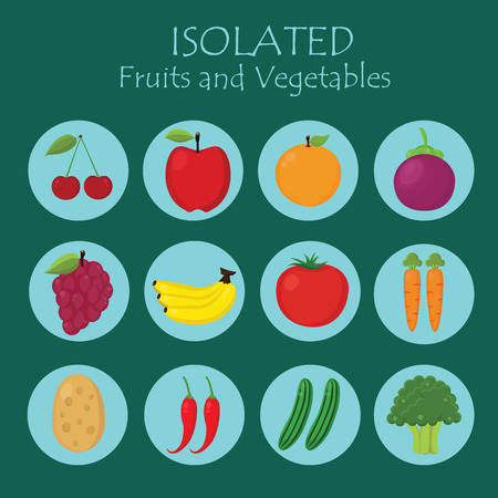 chilly: Set of Fruits and Vegetables Isolated Vector. Illustration. Cute Cartoon. Character Illustration