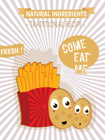 Vintage French Fries Poster Illustration Isolated Flat Vector Graphic Design Stock
