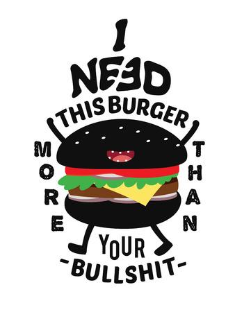 junkfood: Burger Mascot Character Design. Fastfood Concept. t-shirt Graphics. Flat Vector Illustration