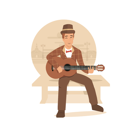 man playing guitar: young man playing guitar and sings a song. vector illustration. Illustration
