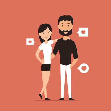 romance: Happy smiling couple in love character vector illustration