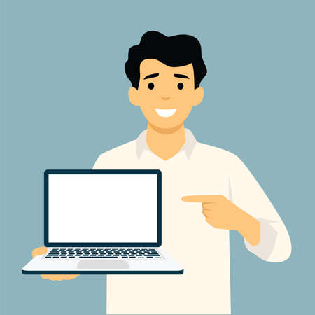 Businessman holding laptop notebook and showing the thumb up. Full length portrait of businessman in a flat style. Vector illustration. Illusztráció