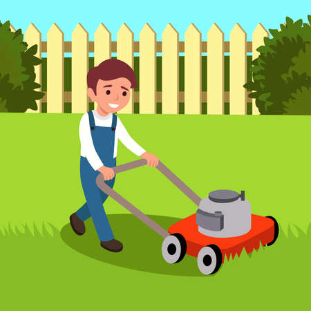 Vector illustration of a boy cutting grass with lawn mower isolated on white background. Cute kid doing garden work. Spring gardening activity picture with funny character