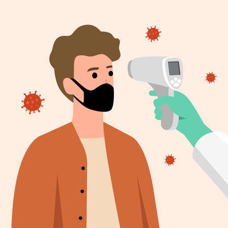 COVID-19 Coronavirus flu patient with high temperature fever concept, doctor holding infrared thermometer to measure body temperature at forehead result in high temperature fever with virus pathogens 向量圖像