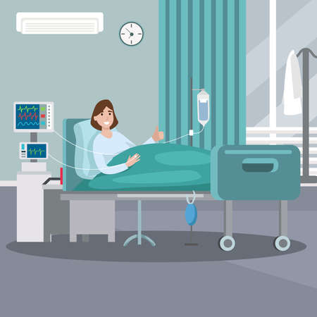 Hospitalization of the patient. A sick person is in a medical bed on a drip giving a thumbs up. Vector illustration in a flat style
