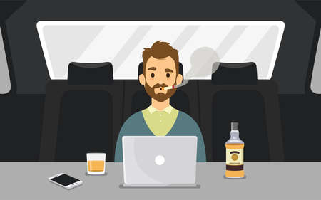 Young Man Smoking a Cigarette inside a car with laptop and bottle of whiskey. Colorful Vector Illustration Illusztráció