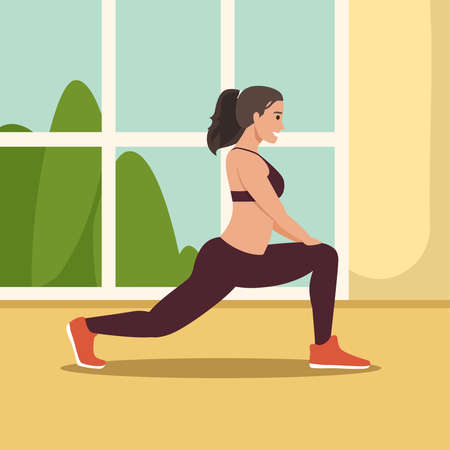 Stay home, keep fit and positive. Cute girl doing squats, exercise, stretching. Fitness workout, sport at home. Healthy lifestyle. Coronavirus quarantine isolation. Vector illustration.