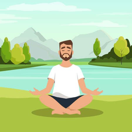 Bearded man sitting with his legs crossed on floor and meditating. Young man in yoga posture doing meditation, mindfulness practice, spiritual discipline at lake. Flat cartoon vector illustration. Ilustración de vector