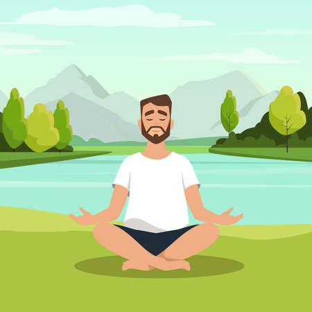 Bearded man sitting with his legs crossed on floor and meditating. Young man in yoga posture doing meditation, mindfulness practice, spiritual discipline at lake. Flat cartoon vector illustration. Ilustração Vetorial