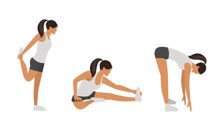 Workout girl set. Woman doing fitness and yoga exercises. Lunges and squats, plank and abc. Full body workout. Warming up, stretching Vecteurs