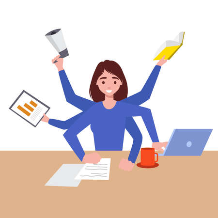 Business stress and multitasking. Flat vector concept isolated illustration. Busy businesswoman in the office works in a few hands. Professional manager sitting in the meditation