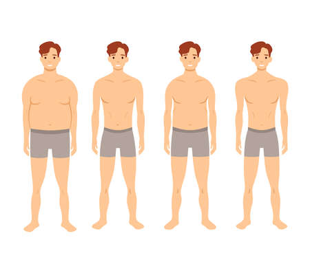 Human body shapes. Male figures types set. Vector illustration