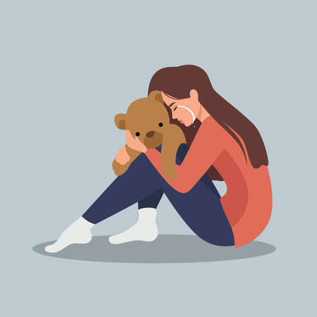 Sad crying lonely young woman sitting on floor. Depressed unhappy girl. Female character in depression, sorrow, sadness. Mental disorder or illness. Colorful vector illustration in flat cartoon style.