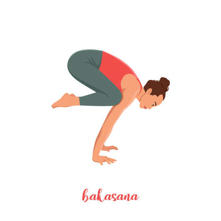 crane pose - Bakasana Yoga pose. Young woman practicing yoga / exercise. Woman workout fitness, aerobic and exercises. Vector Illustration.