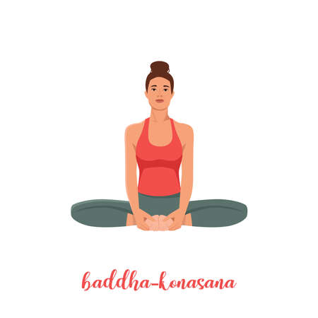 Women silhouette. Bound Angle yoga pose. Baddha Konasana. Vector illustration