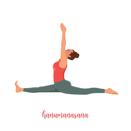 Girl sitting in yoga pose,Monkey Pose is an asana in hatha yoga,hanumanasana pose,vector illustration in trendy style Illustration