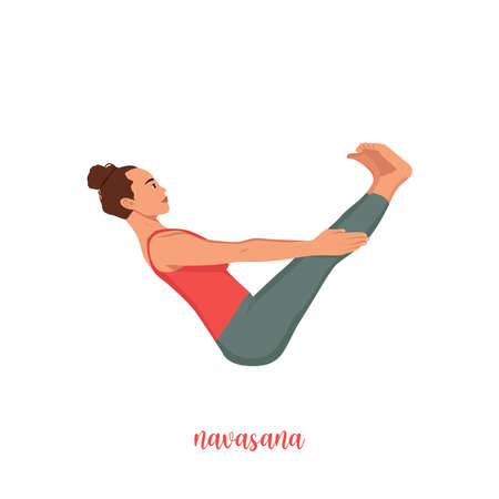 Yoga woman in Paripurna Navasana or Boat pose. Female cartoon character practicing Hatha yoga. Girl demonstrating exercise during gymnastics training. Flat vector illustration.