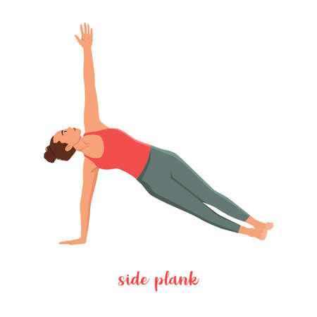 Sporty girl standing in the Extended Side Angle Pose or Utthita Parsvakonasana, in flat cartoon style. Yoga or Pilates concept. Side view. Vector illustration