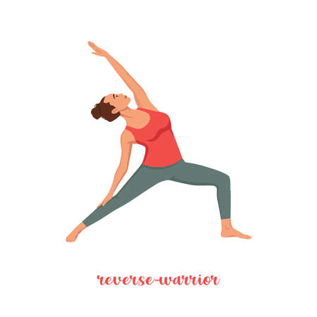 reverse warrior yoga pose Vector isolation on White background Cartoon vector yoga pose healthy and beauty