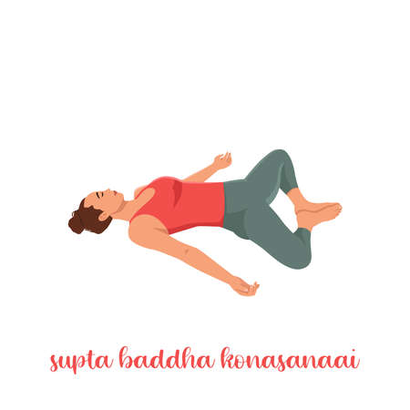 Sporty girl on white background resting in Reclining Bound Angle yoga Pose, Supta Baddha Konasana, restorative, relaxing asana, using bolster