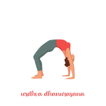 lady doing yoga class. Vector illustration isolated on white. Online home workout. Body positive. Attractive woman. Urdhva Dhanurasana, Upward Bow or Wheel Pose. Illustration