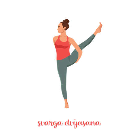 Charming while practicing yoga by the white background.Svarga Dvijasana, or Bird of Paradise.Professional Calmness and relax woman.