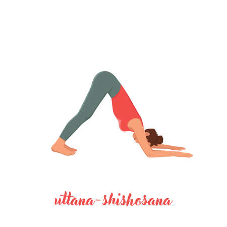 Hand Drawn Extended Puppy Pose Uttana Shishosana Pose, Yoga Woman. Vector Outline Illustration.