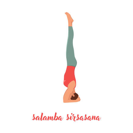 Young yogi attractive woman practicing yoga concept, standing in salamba sirsasana exercise, headstand pose, working out, wearing sportswear, red tank top and pants, full length, loft background
