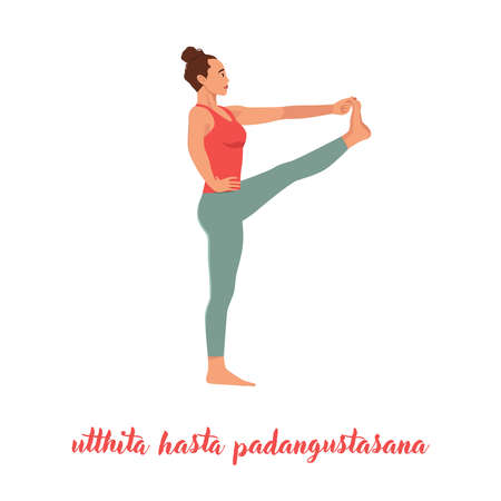 Young attractive woman practicing yoga, standing in Extended Hand to Big Toe exercise, Utthita Hasta Padangustasana pose, working out wearing sportswear, indoor full length, white studio, profile Illustration