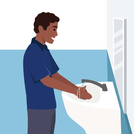 A man washing his hands in the sink concept vector illustration. Washing hands under faucet with soap and water. Virus and bacteria prevention healthcare in flat design.