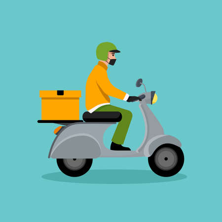 Delivery man riding a red scooter illustration. Food delivery man vector Vetores