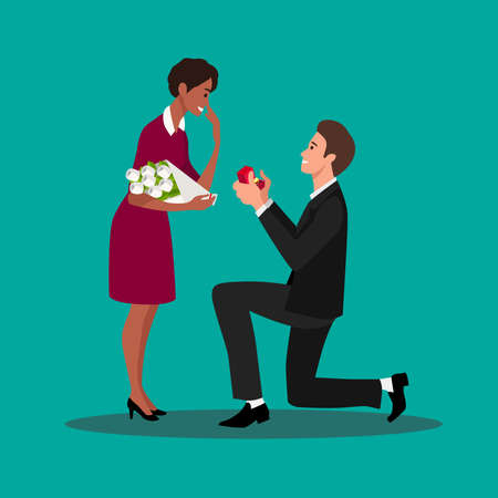 Young guy on knees proposing young beautiful girl for marriage. Man proposing to a woman standing on knee vector illustration