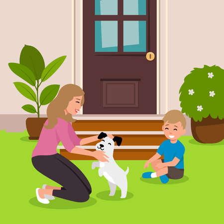 Woman squatted down and hugs her dog. Colorful vector illustration in flat style. with his little boy smilling